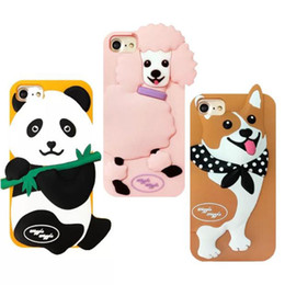 $enCountryForm.capitalKeyWord UK - Fashion Cute 3D Cartoon Korea Wiggle Poodle Panda Corgi Dog Phone Cover for iPhone 6 6sPlus 7 7 plus Soft silicon case Protector