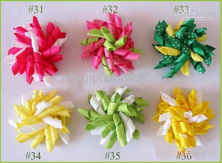 Drop Shipping enfants bigoudis arcs fleurs barrettes cheveux Kid's Korker ruban pince à cheveux 50pcs