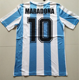 Wholesale Vintage Football Shirt - 86 Argentina Retro Soccer Jersey Maradona 1986 Vintage Throwback Classic 78 Argentina Maradona 1978 Football Shirts