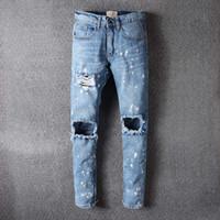 Wholesale Men Jeans Paints - God of Fear Justin Bieber Fear of God Best Version FOG Men Selvedge Zipper Destroyed Tour Pants Skinny Jeans Blue Oil Painted Jeans