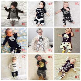 Wholesale Boys Leopard Shirts - 2016 INS explosion models Baby LAZY letters printed long-sleeved T-shirt + stripe pants two-piece suit   white and gray baby clothes suit