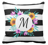 50%cotton and 50% Polyester black striped throw pillows - High quality factory direct custom cool watercolors floral black striped monogram double sided throw pillow inch inch inch