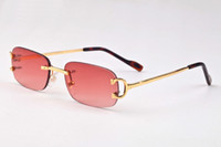 Wholesale Metal Buffalo - Red luxury brand sunglasses for men 2017 unisex buffalo horn glasses men women rimless sun glasses silver gold metal frame Eyewear lunettes