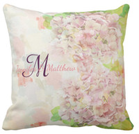 Wholesale Printing Text - High quality wholesale factory direct custom cool romantic pink hydrangea & custom monogram text double-sided throw pillow