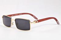 espejo de bambú enmarcado al por mayor-2017 Retro De Madera De Bambú Gafas De Sol Hombres Mujeres Marca Diseñador Gafas de Oro Marco de Plata Espejo Gafas de Sol Con Caja Sombras lunettes oculo