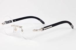 Wholesale Circle Color Lens - 2017 brand designer black buffalo horn glasses men round circle lenses wood frame eyeglasses women rimless sunglasses with box case