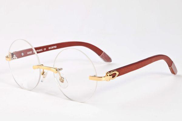 Nouvelle mode 2017 ronde lunettes hommes femmes haute qualité buffle corne lunettes de soleil sans monture brun noir clair lentille bois cadre lunettes de soleil