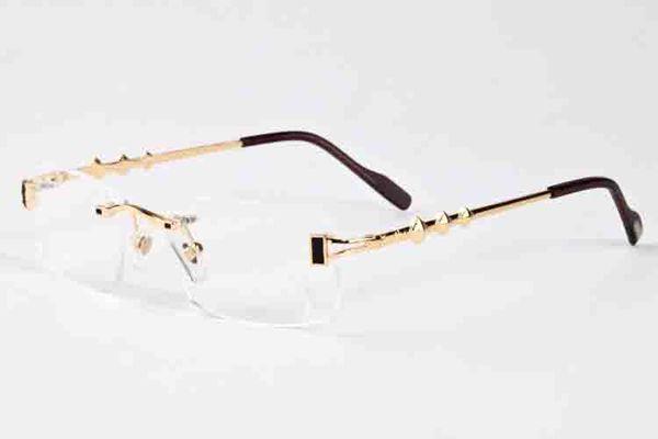 2017 Brand designer men rimless sunglasses women clear lenses fashion buffalo horn sun glasses lunettes Gafas de sol uv400 driving sunglass