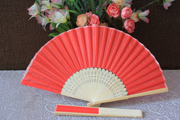 Wholesale Automatic Packing - Free shipping 21cm 100pcs lot silk hand fan silk wedding fan with organza gift bag packing
