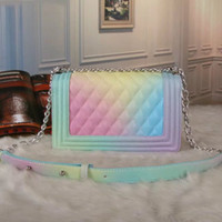Wholesale Women Mix Handbags - New arrivals High Quality Bags Rainbow Mixed colors Handbag Fashion Women's Knitting handle Plaid chain Shoulder Bag