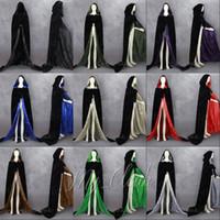 Wholesale Black Cosplay Cloak - Halloween Blacks Cloak Lined Satin Medieval Robe Renaissance Wedding Velvet Cape Cosplay Cape Wicca SCA LOTR LARP Goth