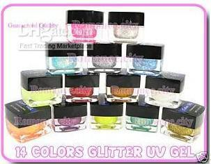 Toptan - - 14x RENK GLITTER RENK UV GEL Nails Art