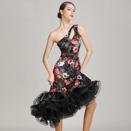 ac7e9597ec3 Women Latin Dance Dress Adult Vestido De Baile Latino Costume Dance 2017 Cha  Cha Rumba Samba Tango Salsa Latin Flower Competition Dress F147