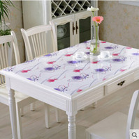 PASAYIONE 2017 New Soft Glass Table Cloth With Floral Pattern Waterproof  Oilproof Transparent Crystal Scrub Board Mat Customized