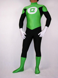 Maillots verts en Ligne-Collants de costume Green Lantern commerce Zentai justaucorps robe Accessoires de costume d'Halloween