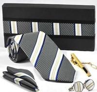 Wholesale Cuff Link Pink - tie set TIE+HANKY+CUFFLINKS+tie bar tie cuff link Neckties,cuff button 12ets lot FACTORY SALE #1752