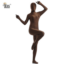 Army Women Costumes NZ - Wholesale-The Crazy Ones Women Brown Zentai Spandex Lycra Nylon One Piece Full Body Second Skin Suit Halloween Cosplay Costume