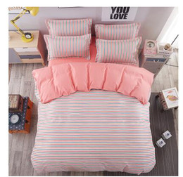 Wholesale Plaid Comforter Full - 2017 New Arrival 100% Cotton Sanding Cotton Fabric Queen King Size Duvet Cover Set Bedding Set Without Comforter Home Textile