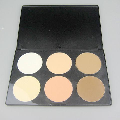 2 st / professionell 6 färger pressad pulver reparationskapacitet pulver blush palette; makeup kompakt pulver
