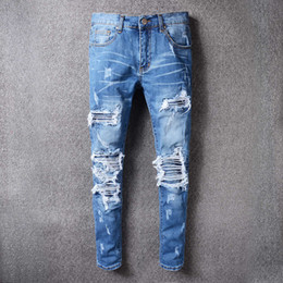 Trous Jeans Pour Hommes Pas Cher-Famous Brand Designer Slim Fit Ripped Robin Jeans pour homme Hi-Street Hommes Distressed Denim Biker Knee Holes Wasted Destroyed Robins Jeans