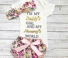 Wholesale Headband Covers - 2017 INS Baby girl toddler outfits 3piece set Bronzing Gold Letter romper onesies diaper covers + Rose floral shorts pants + bow headband