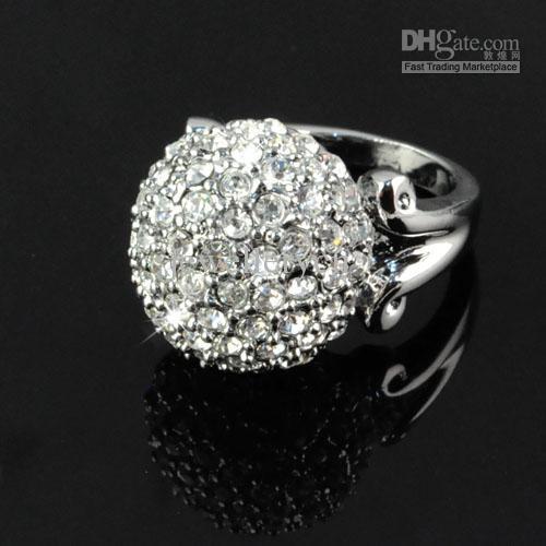 Cristal de luxe anneaux de mariée mariage pour les femmes - bague de fiançailles diamant couleur argent anneaux de mariage foule multi-strass RN 575