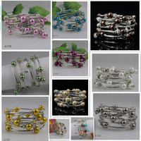 Wholesale Wholesale Pearls Strands - special design beautiful mother-of-pearl silver bracelet girl's woman's bracelet free shipping A744b