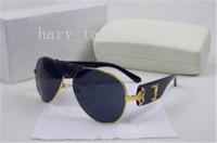 Wholesale Women Designer Blue Coat - Italy designer men women brand sunglasses metal frame removable leather buckle Medusa vintage eyeglasses coating lens eyewear lunette 507