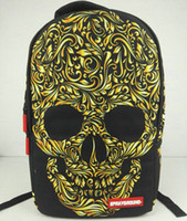 sprayground gold backpack - Gold skull backpack Sprayground daypack Cool schoolbag Casual spray ground rucksack Sport school bag Outdoor day pack