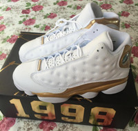 Wholesale 3d Carbon Gold - Retro 13s DMP Carbon Fiber Retro 13 Defining Moments Gold White They can't Win Until 3D cat's eye Basketball With Box
