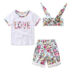 Wholesale Cute Babies Red Roses - 2017 INS Baby girl Toddler Summer clothes 3piece set outfits Rose Floral Lace Tops Shirt Vest + Shorts Pants Tassels + Bow Headband Cute