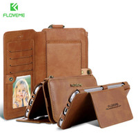 FLOVEME-0024 Business Brieftasche Telefon Fällen Für Samsung Galaxy S6 S7 Rand Plus 18 Kartensteckplätze Metall Reißverschluss Hybrid Fall Für Samsung Note 5 4 3