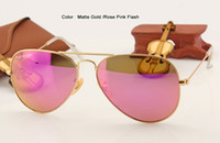 Wholesale Hot Sale Classic Sunglasses - hot sale high quality classic women sunglasses designer fashion glasses men UV400 protection gold frame pink mirror lens 58 62 mm case box