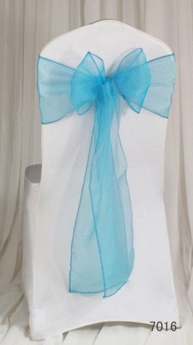 2017 hot sale beautiful turquoise organza chair sashes bows