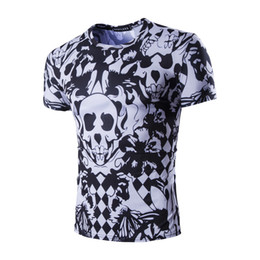 Wholesale Tshirt Best Brand - Best Quality Brand Tshirt For Boy 2017 New Fashion Short Sleeve Men's Tees Skull Print Tshirts Wholesale