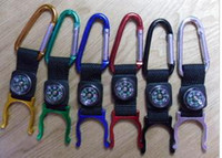 Wholesale Key Locking Buckles - Key Chain Lock Aluminum Mountaineer Carabiner with compass Outdoor Mountaineering Buckle Hung Buckle