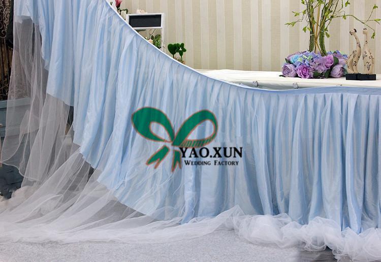 Bellissima gonna da tavolo in seta color ghiaccio con organza Swag drappeggia decorazione \ battiscopa da tavola economica