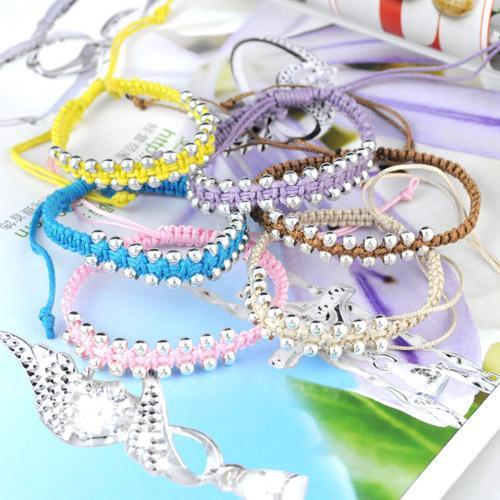 10 pz / lotto all'ingrosso perline CCB monocromatico corda morbida handmade corda corda catena bracciali braccialetti di amicizia le donne, BR-888B