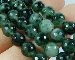 Wholesale Emerald Round Faceted Beads - 8mm Emerald Faceted Loose Beads Gemstone 15""