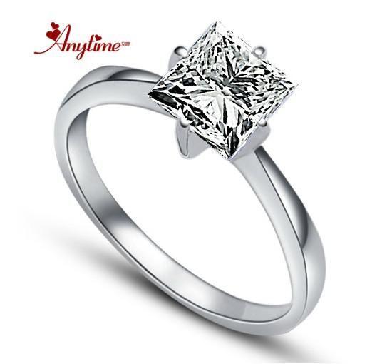 2014 Square Ring 925 Silver Swiss Diamond Ring Womens Diamond Ring