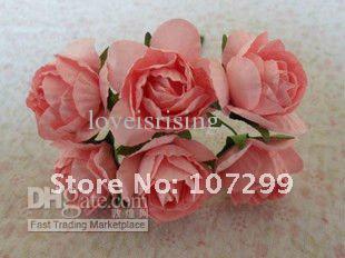 Бесплатная доставка-новое прибытие 144 шт. розовый ручной работы бумажный цветок для Записки карты DIY Craft