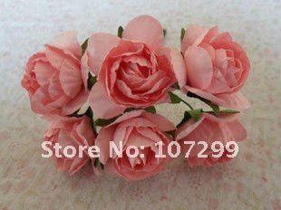 無料の送料 - スクラップブックカードを作るスクラップブックカードのための新しい到着ピンクの手作りの紙の花