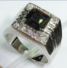 Wholesale Diamond Black Stone Ring - black carnelian with white diamond Silver Plated ring R187 SZ#6 7 8 Recommend Promotion Favourite Best Sellers