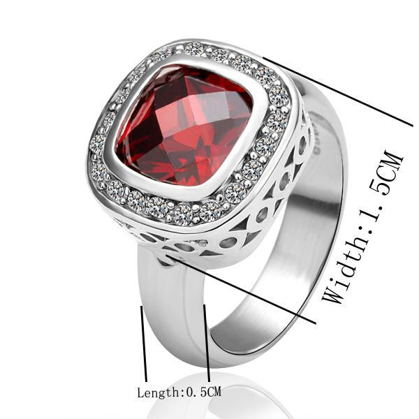 High quality plated 18K platinum wedding rings in red zircon pretty cute fashion jewelry gift free shipping
