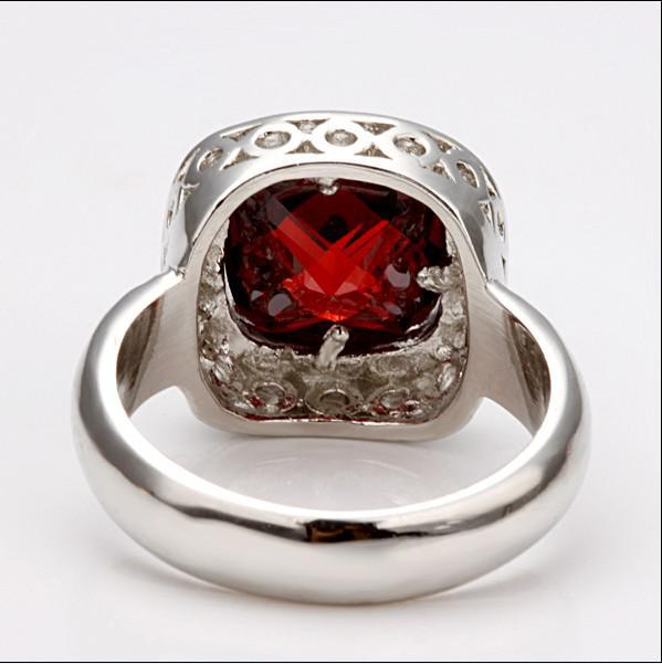 High quality plated 18K platinum wedding rings in red zircon pretty cute fashion jewelry gift