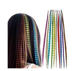Wholesale Synthetic Feather Extensions - 10 colors 16 Inch Long Synthetic Grizzly Rooster Extension Feathers hair Extensions 100pcs hfghuui98