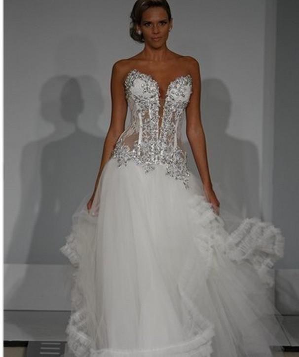 Pnina Wedding Gown: Custom Made New Ball Gown White Bridal Wedding Dress Pnina