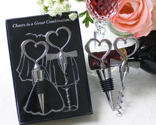 10 unids abrebotellas de vino en forma de corazón y tapón Favores de la boda vino Favor Set Gift Nuevo