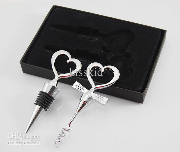 Heart-shaped Wine Bottle Opener and Stopper Wedding Favors Wine Favor Set Gift New