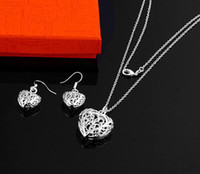 Wholesale Christmas Necklace Set Love - hot new Christmas gifts 925 silver fashion charm women lady new heart love Earring necklace set jewelry 10set